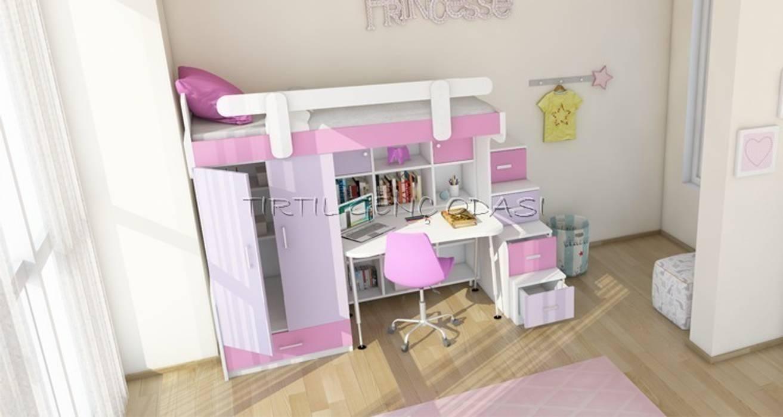 Tırtıl Genç ve Çocuk Odası – 13-04 Çalışma masalı kitaplıklı ranza.:  tarz Çocuk Odası
