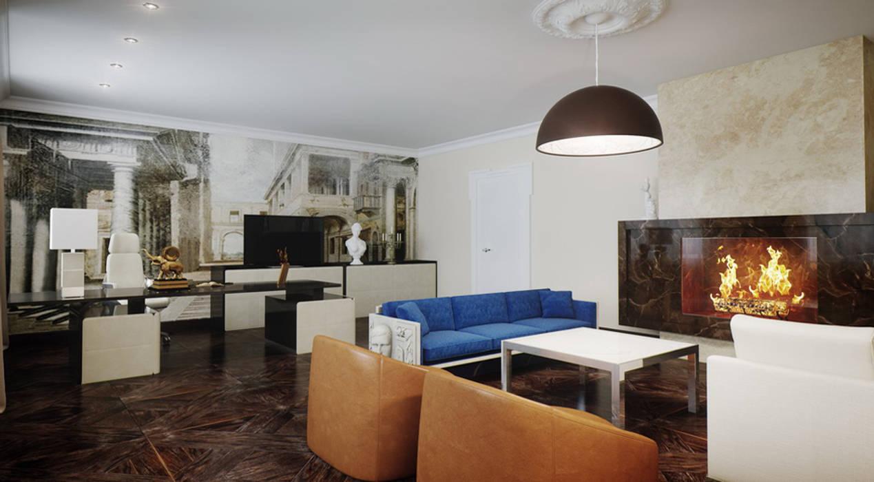 Загородный дом 1600 кв.м. Рабочий кабинет в эклектичном стиле от Студия Максима Рубцова. Эклектичный