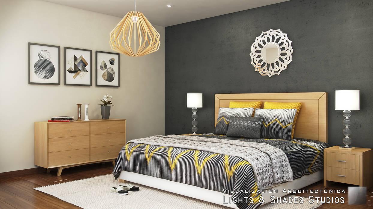 Main Bedroom Lights & Shades Studios Modern style bedroom