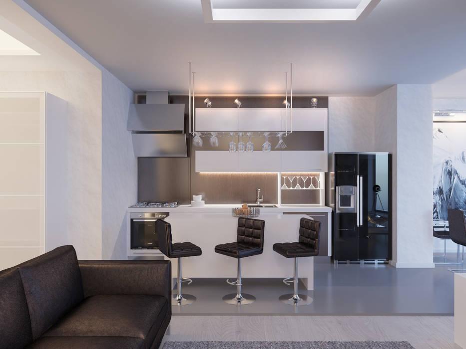 Студия-лофт в Тюмени: визуализация и дизайн: Кухни в . Автор – OK Interior Design, Модерн