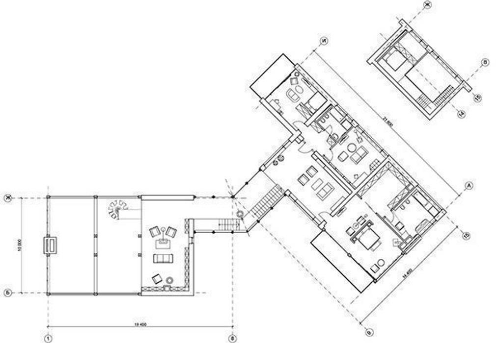 """Дом """"Woodlark"""" - комбинированные конструкции:  в . Автор – NEWOOD - Современные деревянные дома, Кантри"""