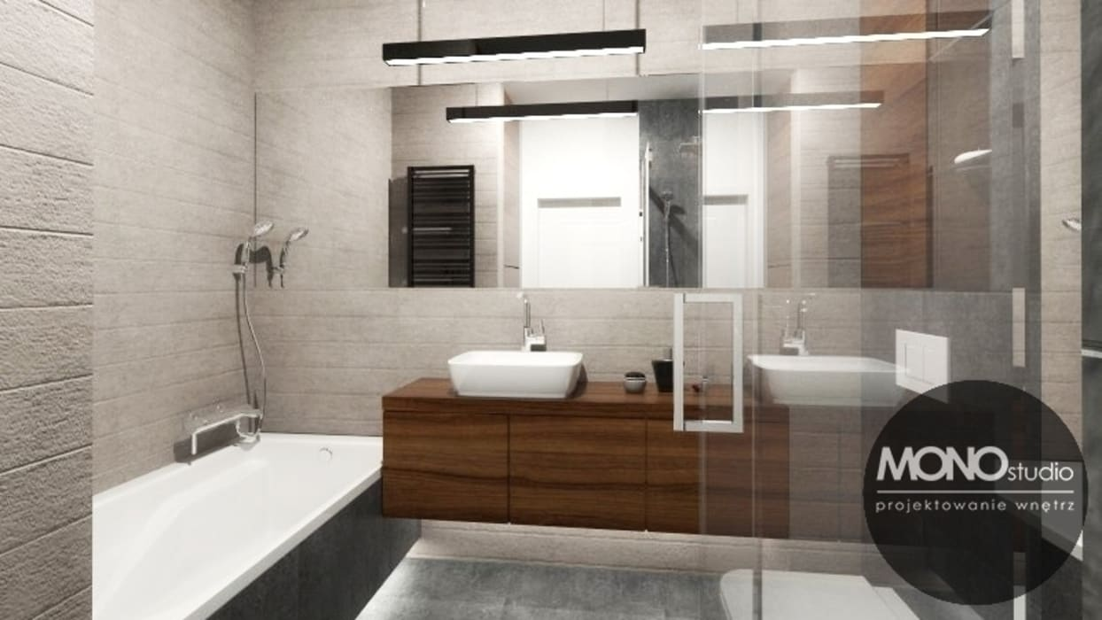 Urocze mieszkanie zaaranżowane w nowoczesnym stylu: styl , w kategorii Łazienka zaprojektowany przez MONOstudio