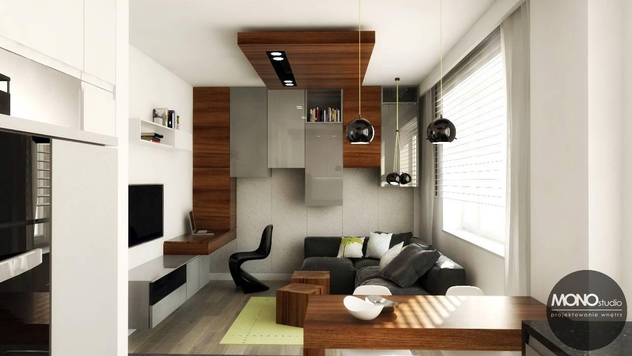 Urocze mieszkanie zaaranżowane w nowoczesnym stylu: styl , w kategorii Salon zaprojektowany przez MONOstudio,