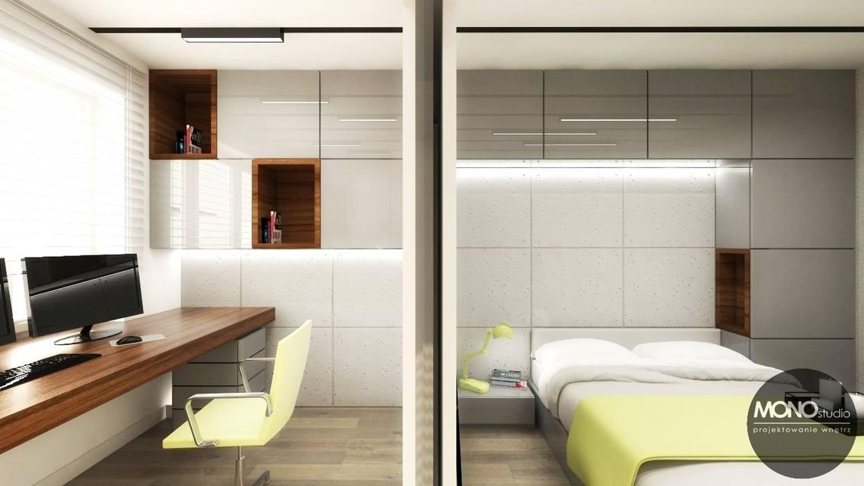 Urocze mieszkanie zaaranżowane w nowoczesnym stylu Nowoczesna sypialnia od MONOstudio Nowoczesny