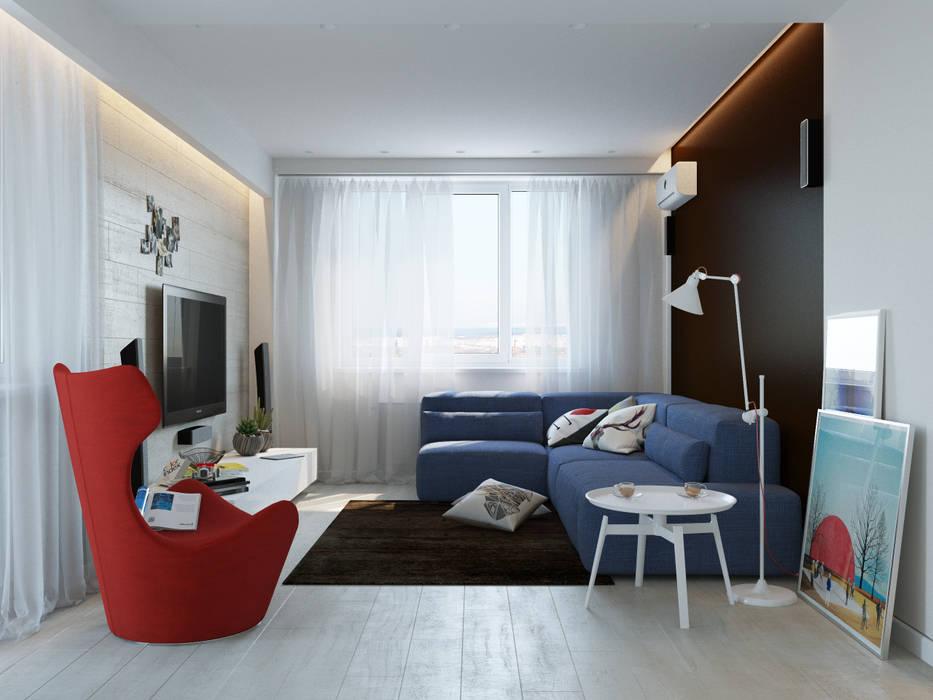 Интерьер квартиры для молодого человека: Гостиная в . Автор – Оксана Мухина, Минимализм