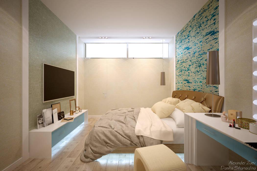 """Дизайн спальни в современном стиле в ЖК """"Панорама"""": Спальни в . Автор – Студия интерьерного дизайна happy.design,"""