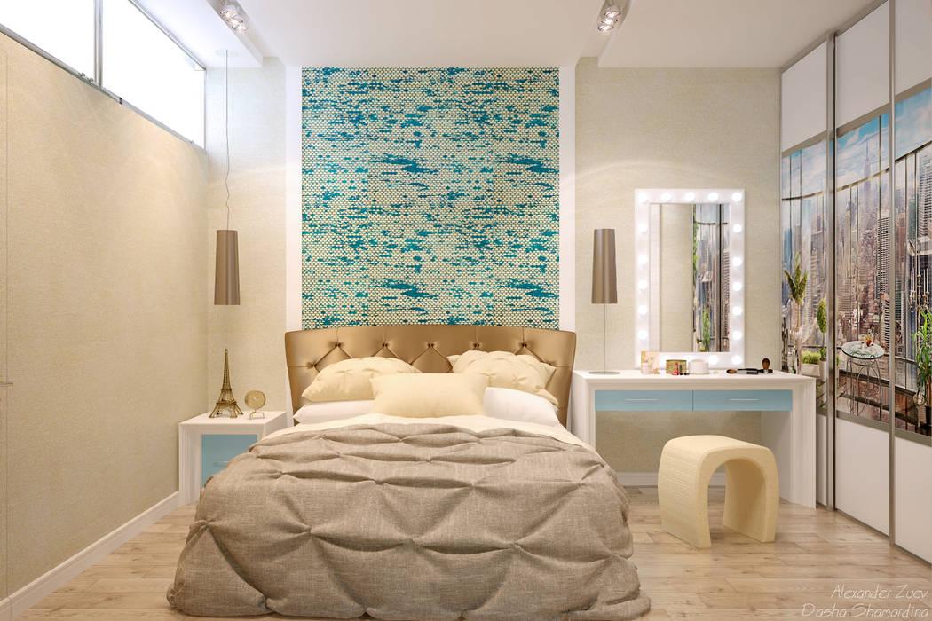 """Дизайн спальни в современном стиле в ЖК """"Панорама"""": Спальни в . Автор – Студия интерьерного дизайна happy.design, Модерн"""