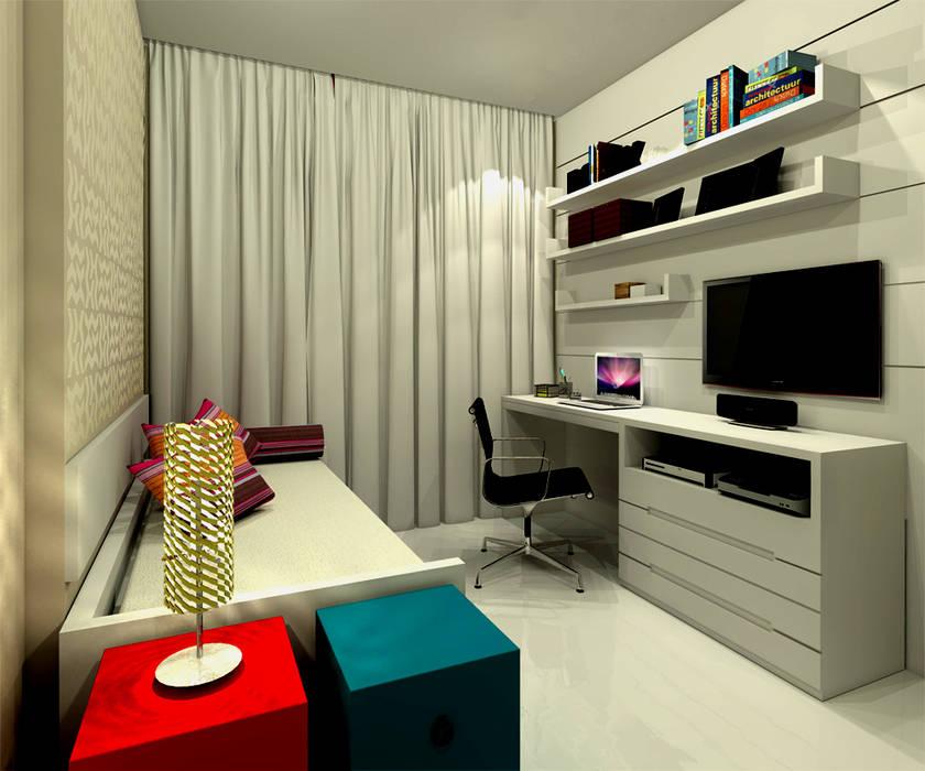 Quarto Carolina - Barra da Tijuca RJ Quartos modernos por Konverto Interiores + Arquitetura Moderno