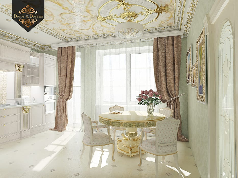 Золотая классика / трехкомнатная квартира в Казани по ул. Муштари: Кухни в . Автор – Decor&Design, Классический