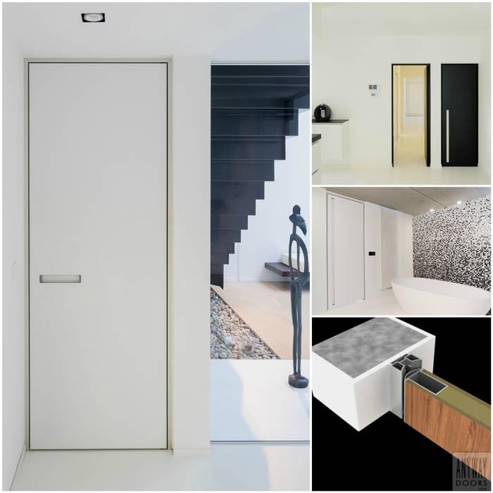 Moderne binnendeuren met een minimalistisch kozijn:  Binnendeuren door Anyway Doors