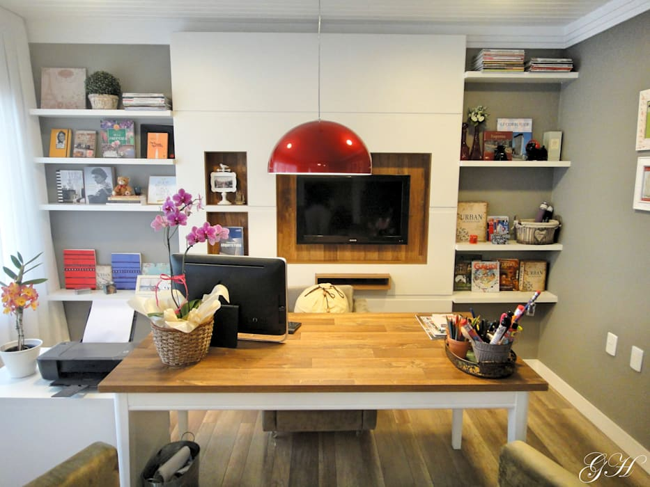 Phòng học/văn phòng phong cách mộc mạc bởi Gabriela Herde Arquitetura & Design Mộc mạc Gỗ thiết kế Transparent