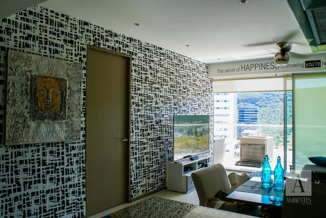 TAPIZ RAYADO : Salas de estilo moderno por Ambientes con Arte
