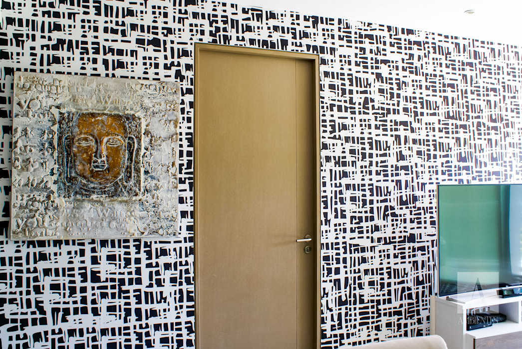 TAPIZA RAYADO : Salas de estilo  por Ambientes con Arte
