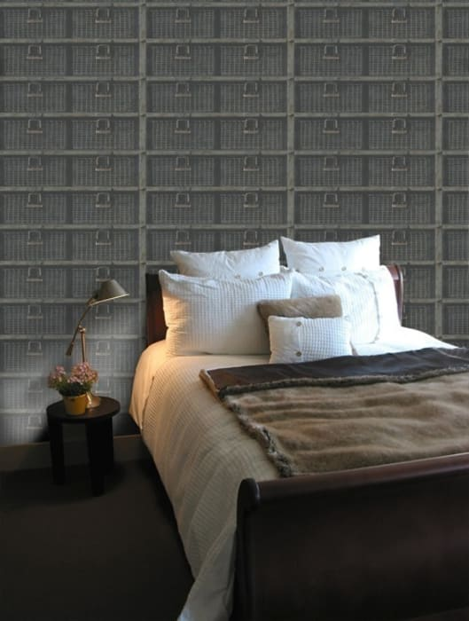 Basket Wallpaper: Dormitorios de estilo industrial de Vicente Galve Studio