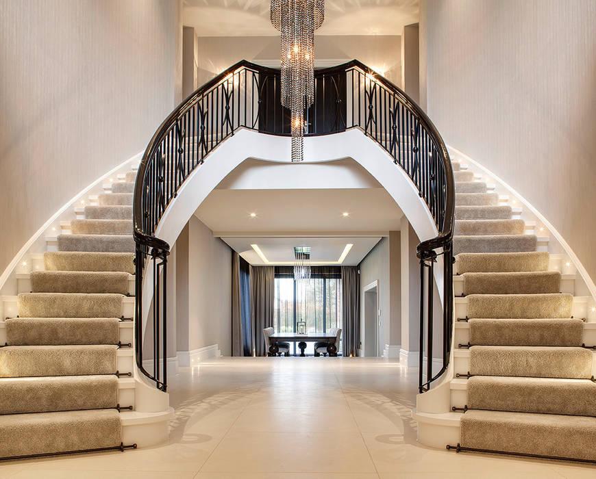 ST495 Dwustronne schody gięte / ST495 Double Curved Stairs Trąbczyński Klasyczny korytarz, przedpokój i schody