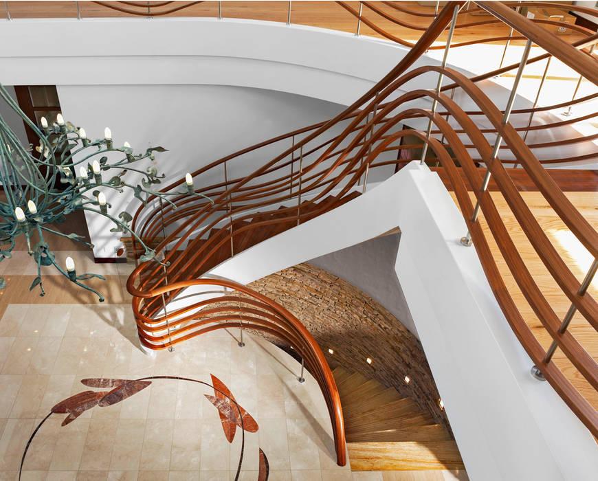 ST690 Nowoczesne schody gięte / ST690 Modern Curved Stairs Nowoczesny korytarz, przedpokój i schody od Trąbczyński Nowoczesny