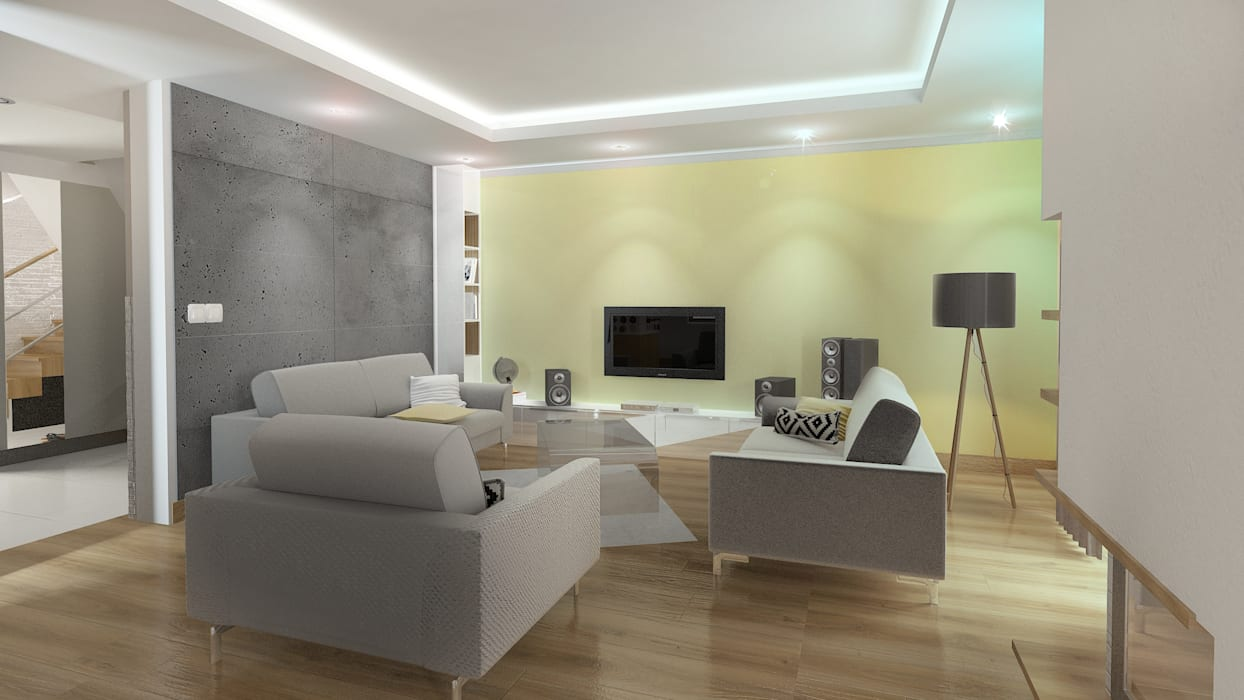 Nowoczesny dom jednorodzinny Nowoczesny salon od D2 Studio Nowoczesny