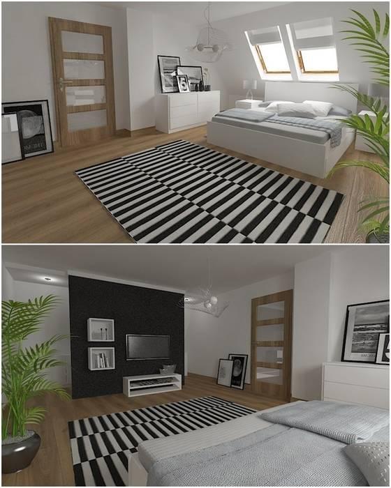 Nowoczesny dom jednorodzinny: styl , w kategorii Sypialnia zaprojektowany przez D2 Studio