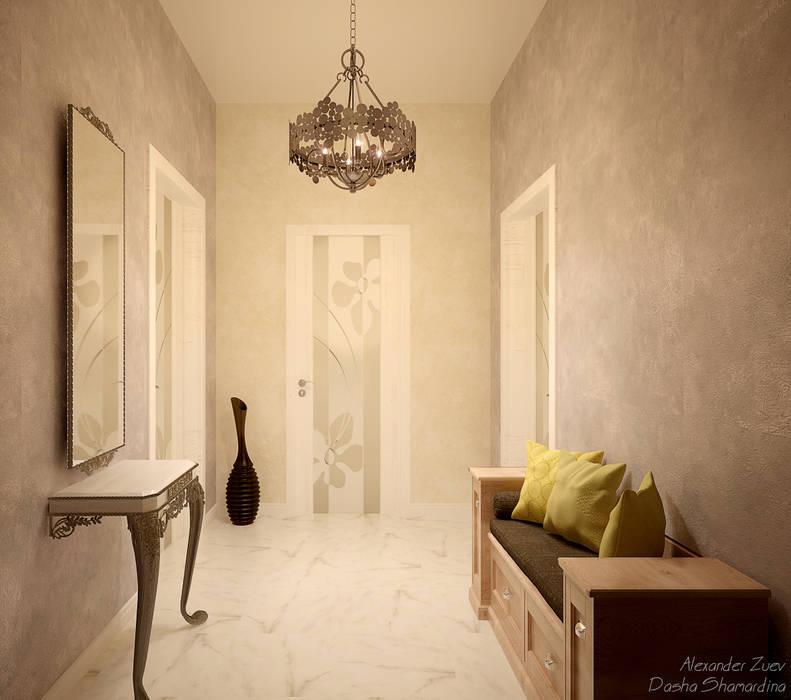 Pasillos, vestíbulos y escaleras de estilo ecléctico de Студия интерьерного дизайна happy.design Ecléctico