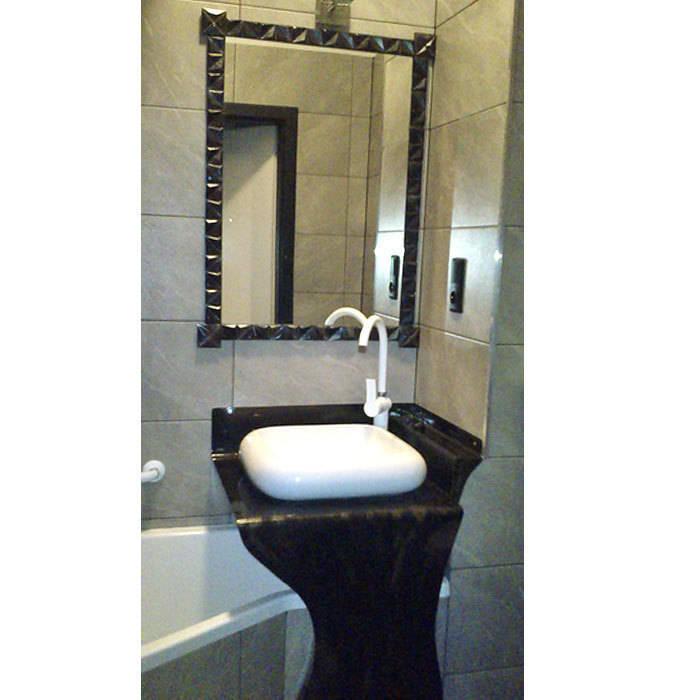 Kafelki na ramę lustra - srebrzyste Nowoczesna łazienka od Dekory Nati Nowoczesny