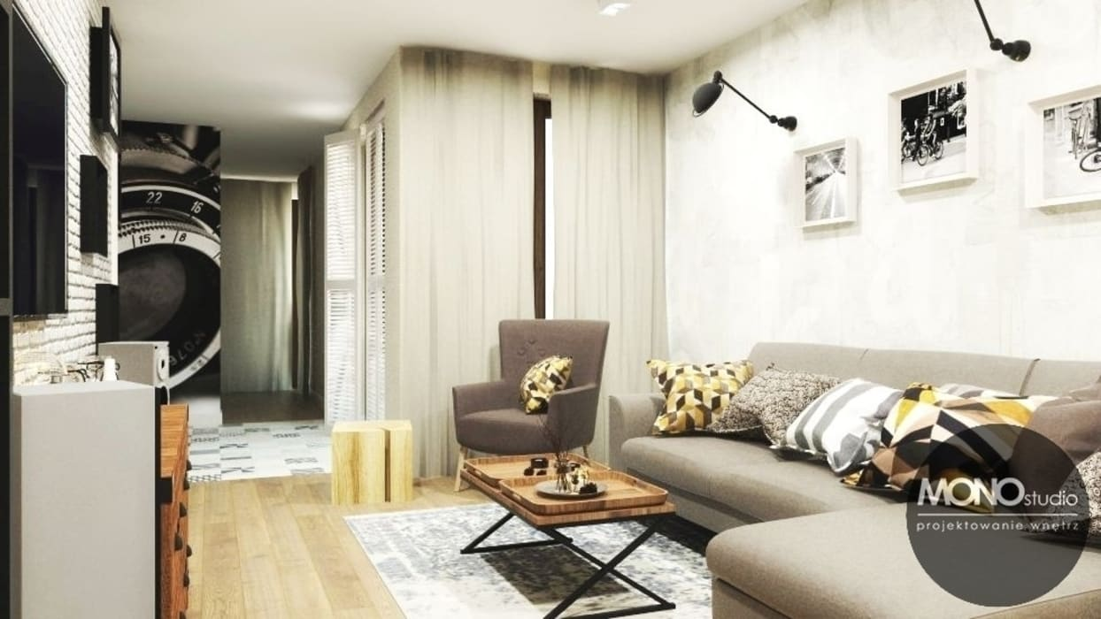 Komfortowe, niezwykle ciepłe wnętrza mieszkania na Czarodziejskiej sprzyjają relaksowi. : styl , w kategorii Salon zaprojektowany przez MONOstudio
