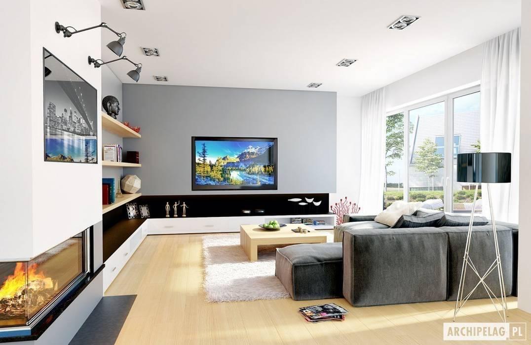 Salas de estilo moderno de Pracownia Projektowa ARCHIPELAG Moderno