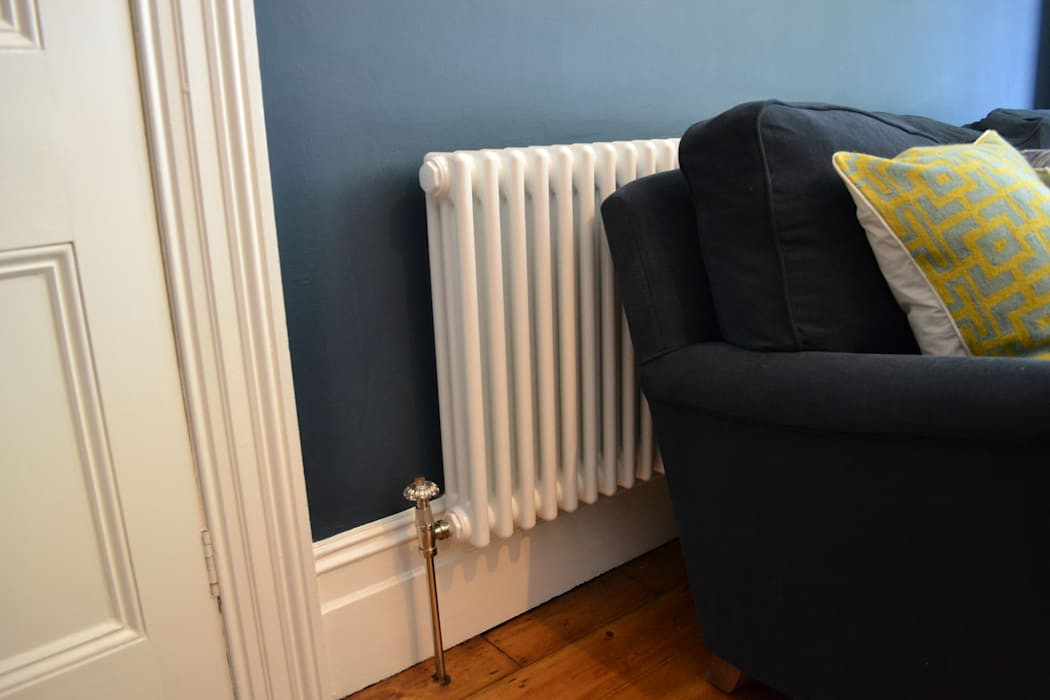 Three column white radiator Mr Central Heating Modern living room