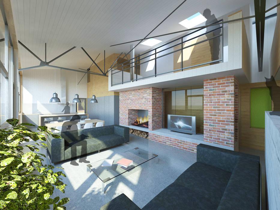 Vue de l'espace de vie: Salon de style  par 3B Architecture