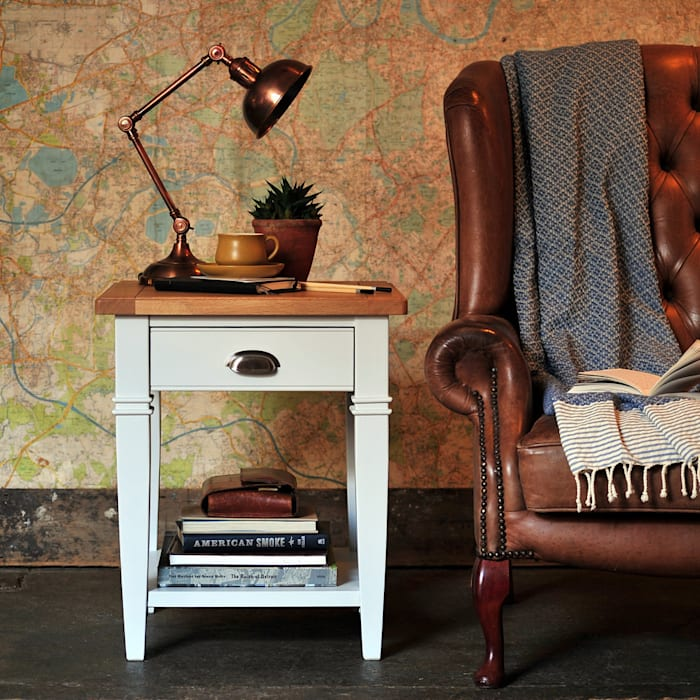 Boston Light grey Lamp Table par The Cotswold Company Rural