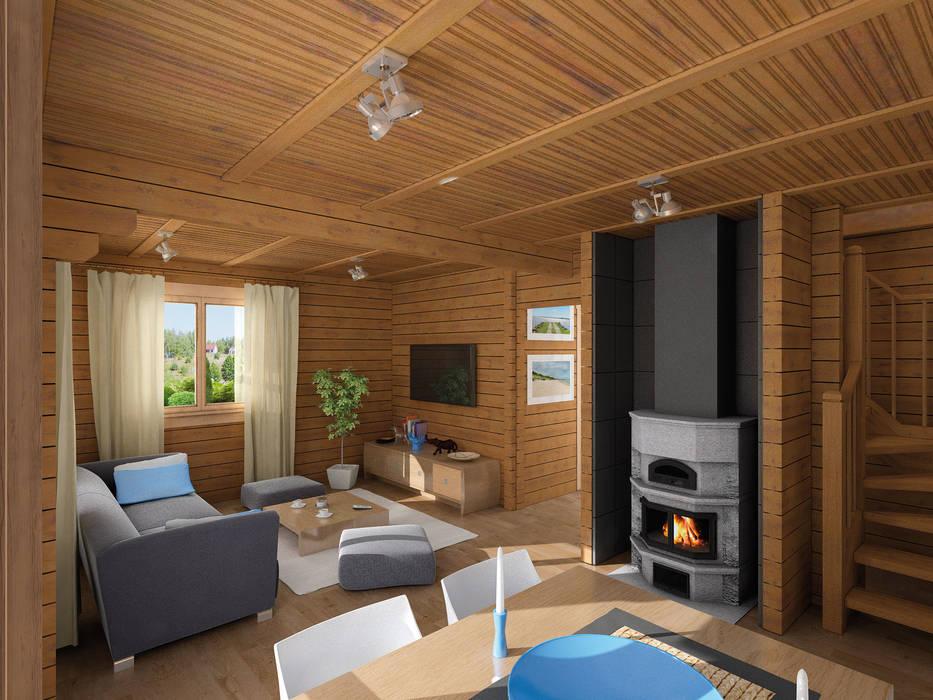 Ferienhaus Fjord mit Carport Interior Rustikale Häuser von THULE Blockhaus GmbH - Ihr Fertigbausatz für ein Holzhaus Rustikal