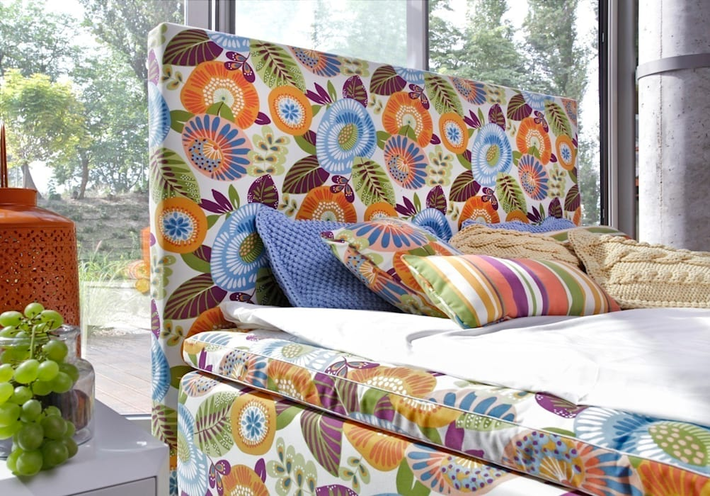 łóżko kontynentalne Duke Flower Power od Swarzędz Home Nowoczesny
