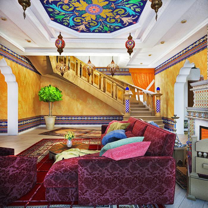Восток: Гостиная в . Автор – AbcDesign, Азиатский
