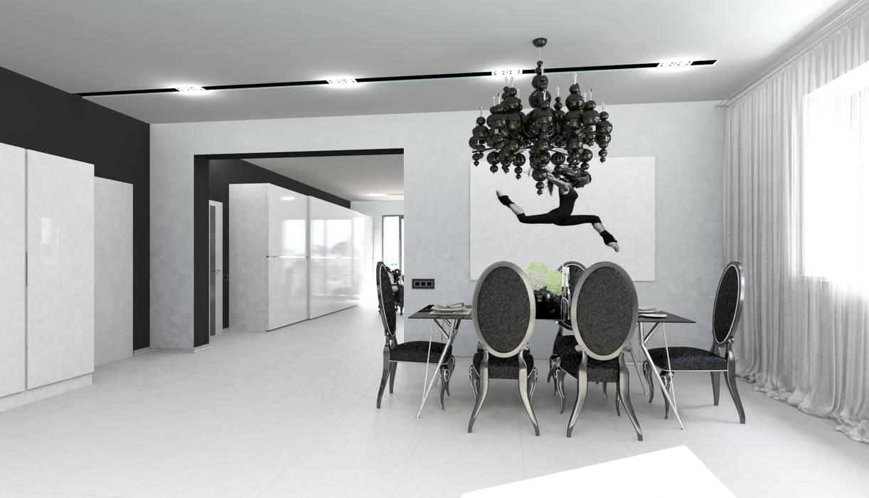 Черно-белая сюита: Столовые комнаты в . Автор – Гурьянова Наталья, Минимализм