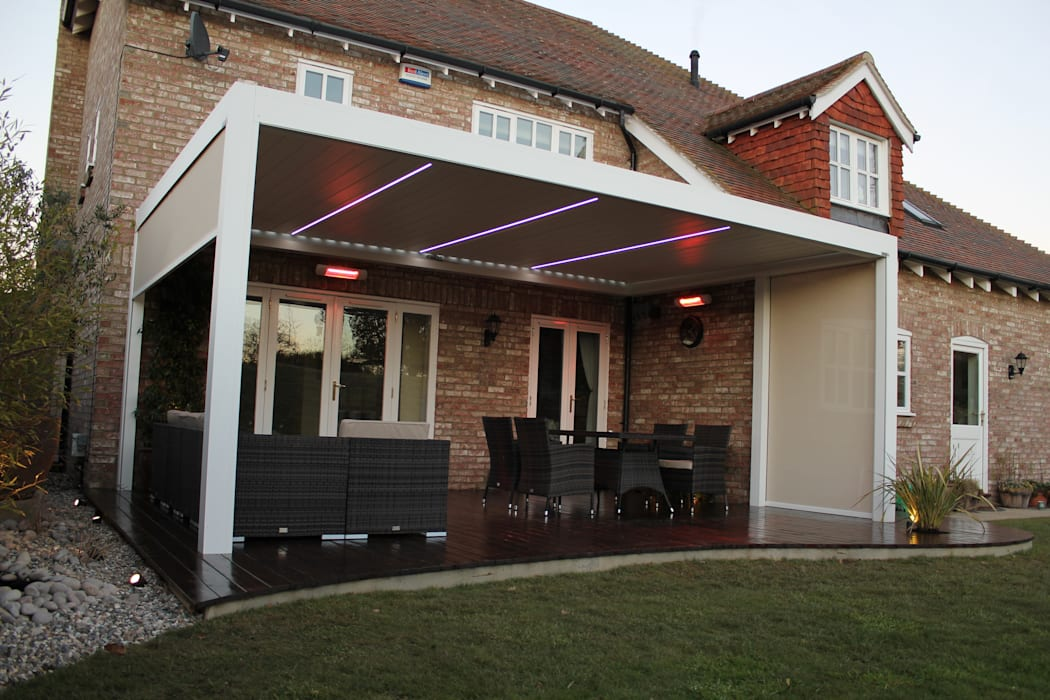 Outdoor Living Pod, Louvered Roof Patio Canopy Installation in Kent. Modern style gardens by homify Modern