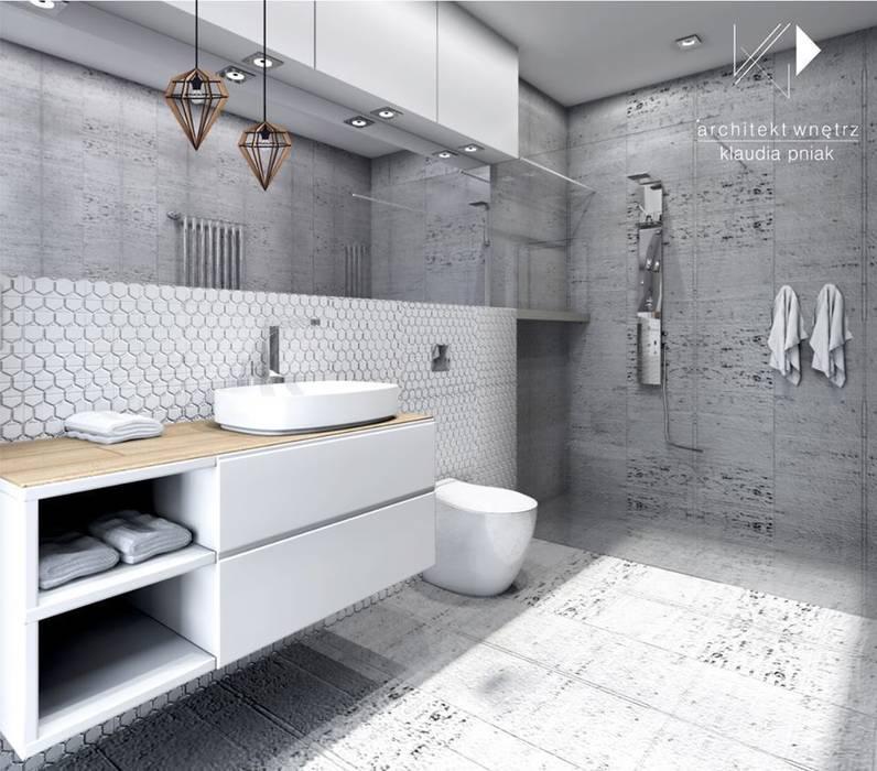Beton i biel wersja 2: styl , w kategorii Łazienka zaprojektowany przez Architekt wnętrz Klaudia Pniak,Nowoczesny