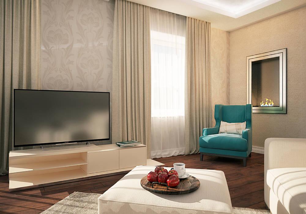 Квартира на 23-ем этаже. Классика в современной интерпретации.: Гостиная в . Автор – Виталия Бабаева и Дарья Дикая, Классический