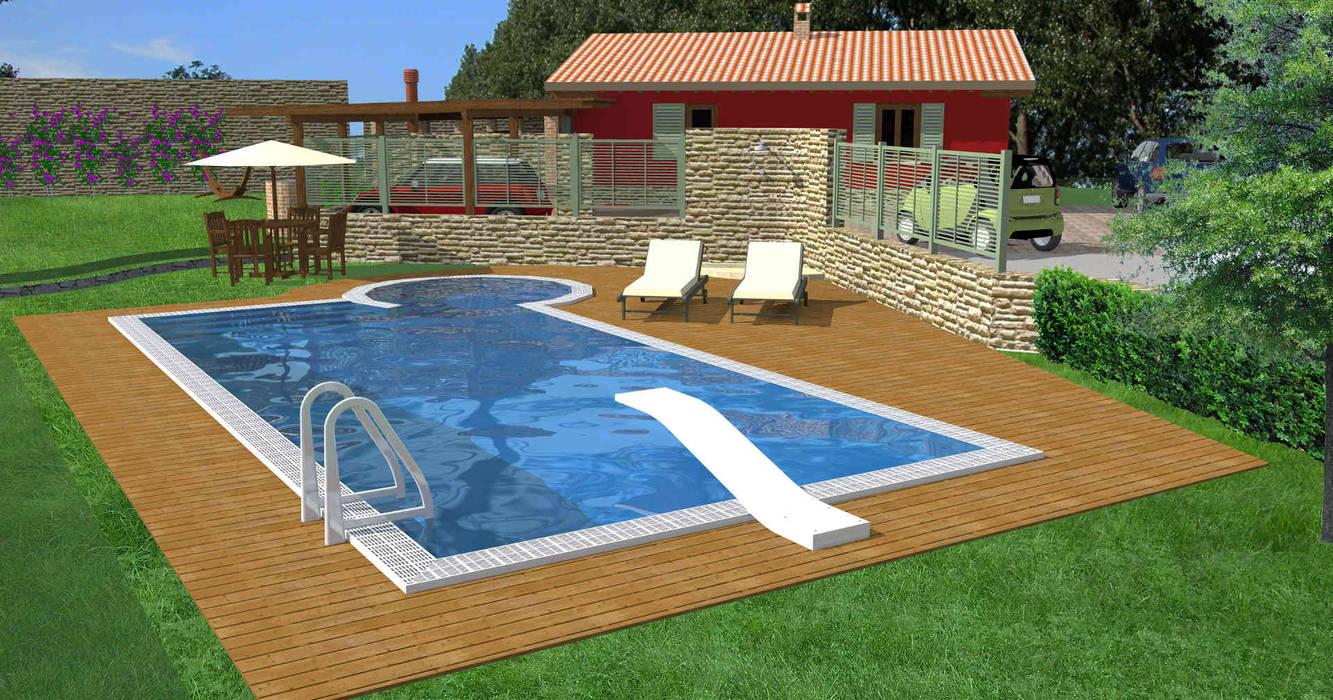 Vista della piscina e del giardino Piscina in stile rustico di Planet G Rustico
