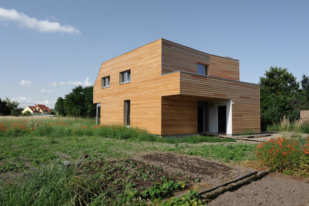 Nord-Ostfassade Symbios Architektur Moderne Häuser Holz Braun