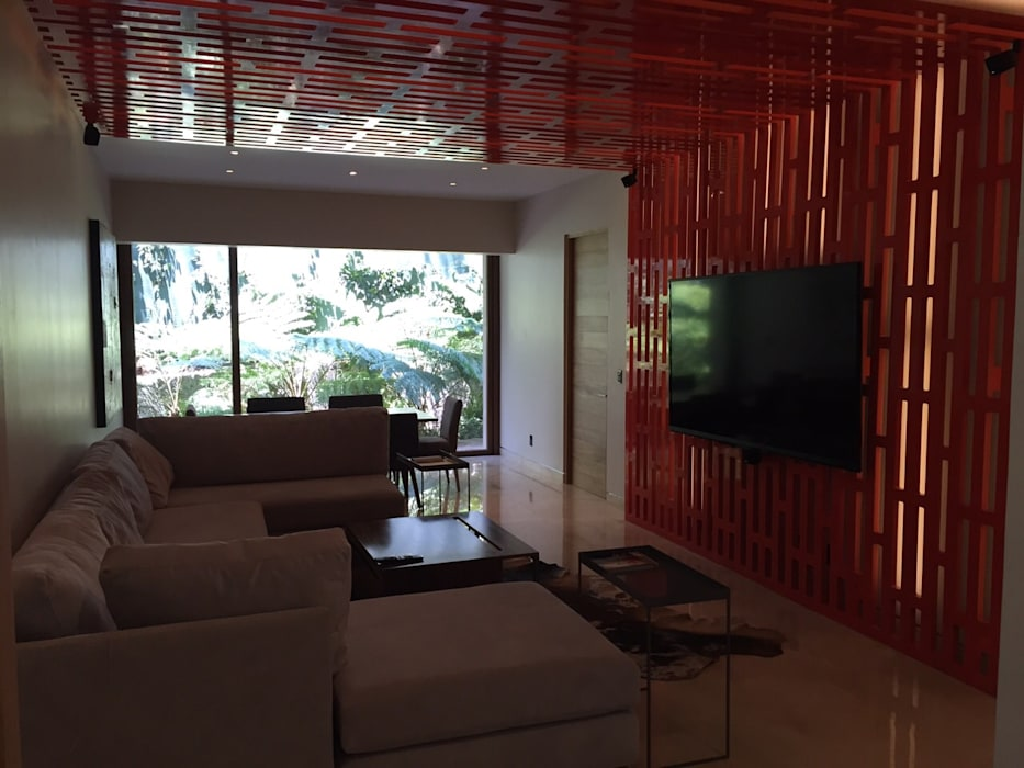 Celosía iluminada para mueble de tv de HO arquitectura de interiores Moderno Madera Acabado en madera
