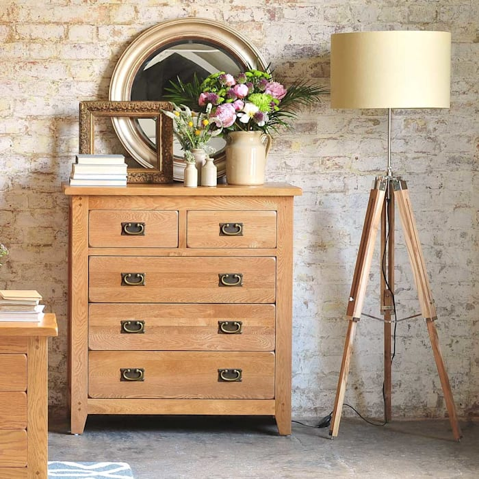 Oakland 2 over 3 Chest of Drawers Country style bedroom by The Cotswold Company Country Wood Wood effect