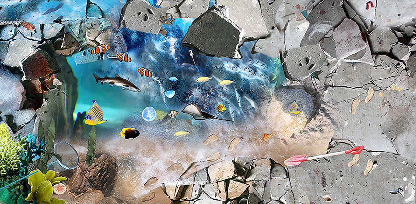 Concrete Underwater Vinyl Flooring Baños de estilo mediterráneo de Blue Butterfly Flooring Mediterráneo