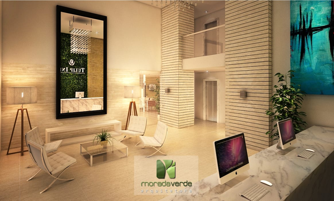 Tulip Inn Batel - Curitiba - PR Corredores, halls e escadas minimalistas por Moradaverde Arquitetura Ltda. Minimalista