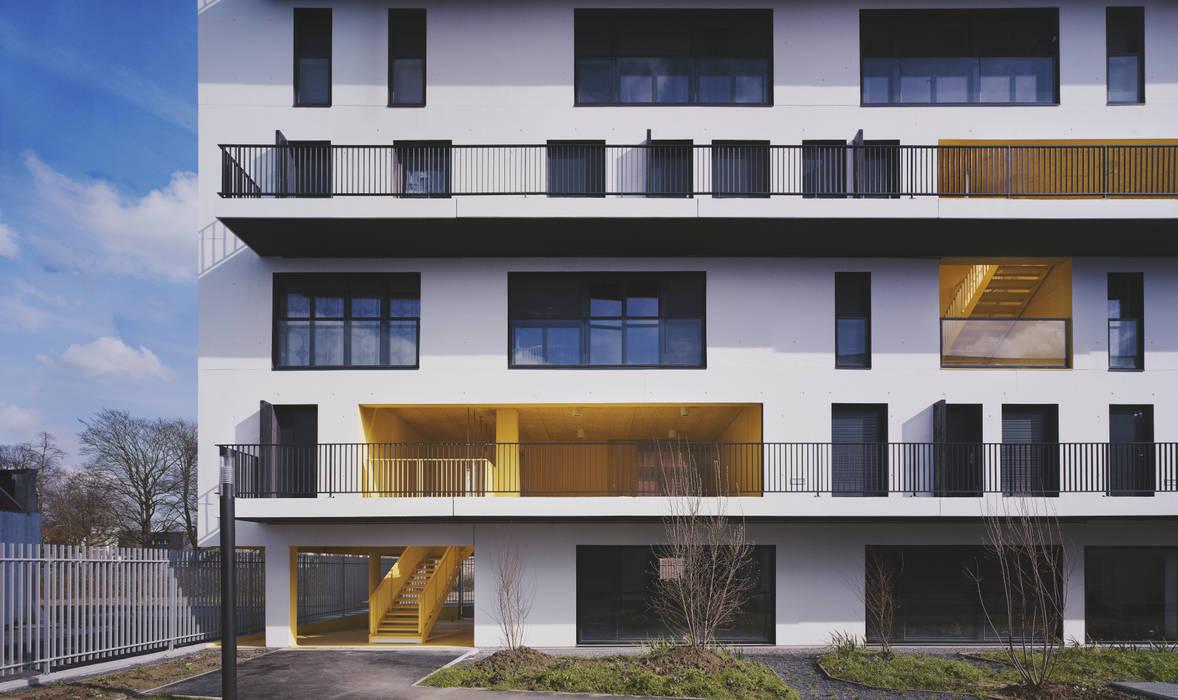 2_DEPUIS LE JARDIN COMMUN:  de style  par sophie delhay architectes