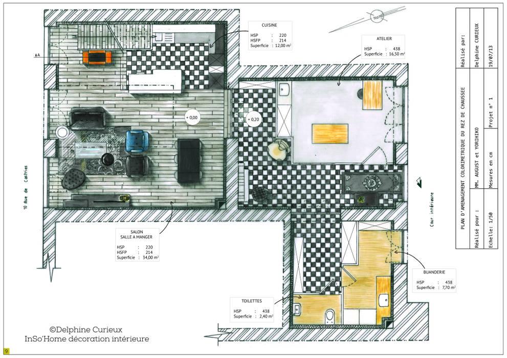 Plan d'aménagement Maisons modernes par INSO'HOME Décoration Intérieure Moderne