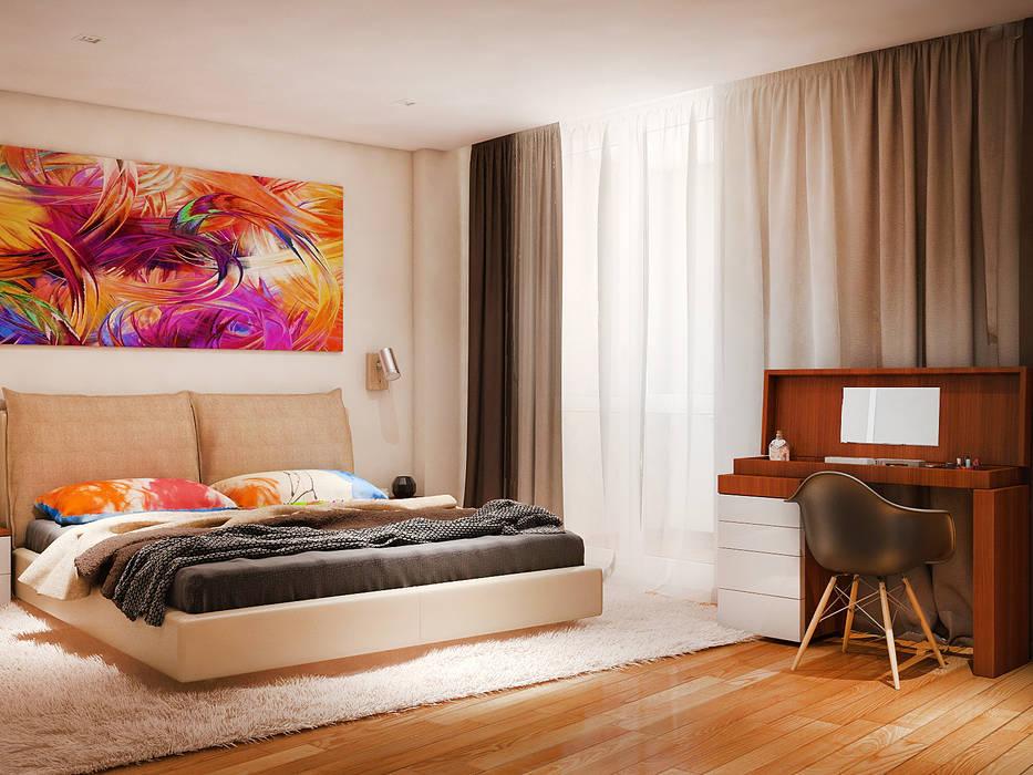 Теплый модерн с очаровательной детской Спальня в стиле модерн от Tatiana Zaitseva Design Studio Модерн