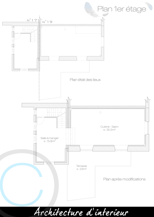 Plan 1er étage: Salon de style de style Moderne par Crhome Design