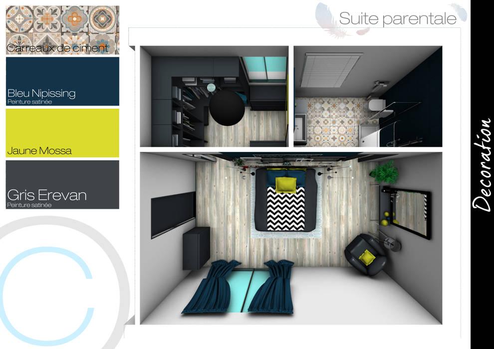 Plan 3D: Chambre de style de style eclectique par Crhome Design