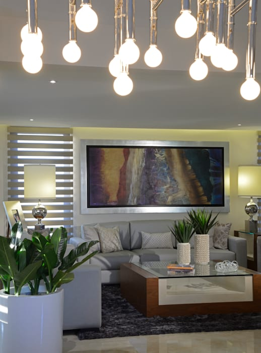 Sala Casa GL Salones modernos de VICTORIA PLASENCIA INTERIORISMO Moderno Mármol