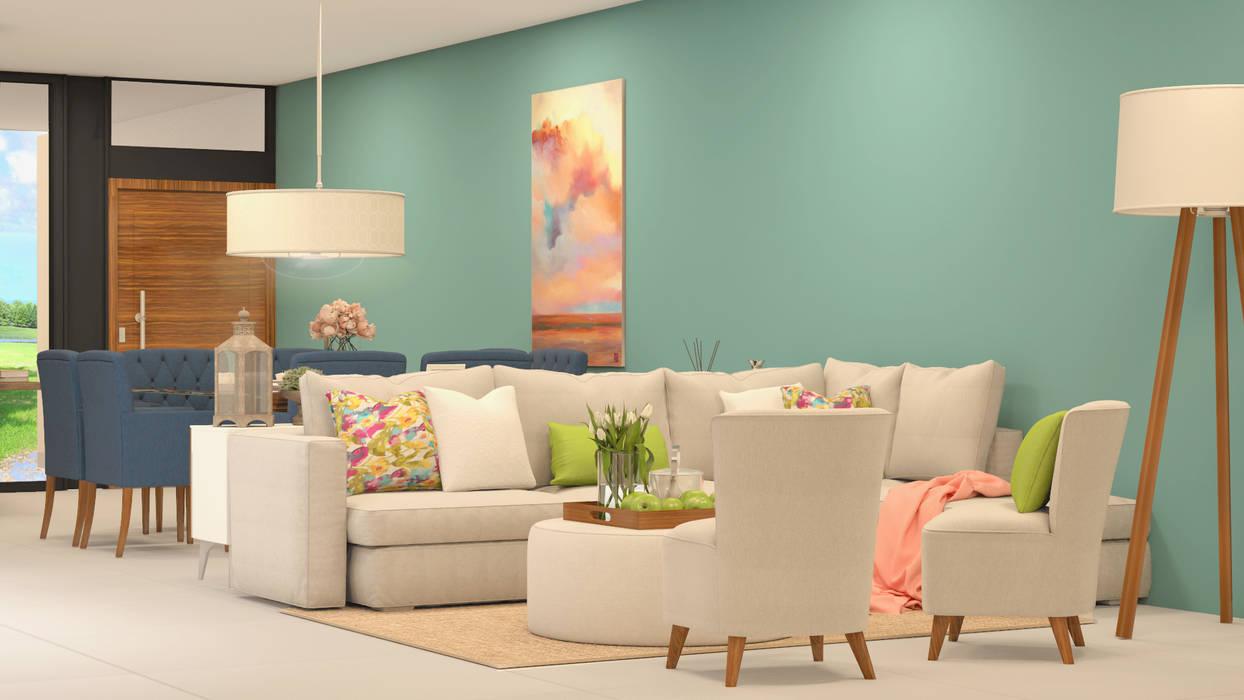 Ruang Keluarga Minimalis Oleh CONTRASTE INTERIOR Minimalis Tekstil Amber/Gold