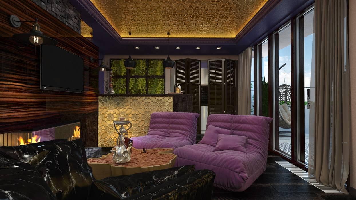 Phòng giải trí phong cách chiết trung bởi Katerina Butenko Chiết trung